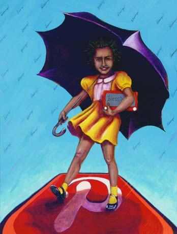 image of girl inspired by the Morton Salt logo carrying her etch-a-sketch while standing on a pinterest button