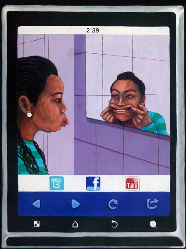 image of girl facing mirror in the bathroom by Gabriel Navar. Girl is sticking out her tongue, making faces at her other self