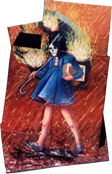 image based on the Morton Salt girl logo of a girl with a skull instead of a face with her umbrella on fire