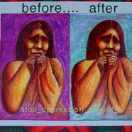 image of an anguished woman showing there's no change in her pain between the before and after pictures