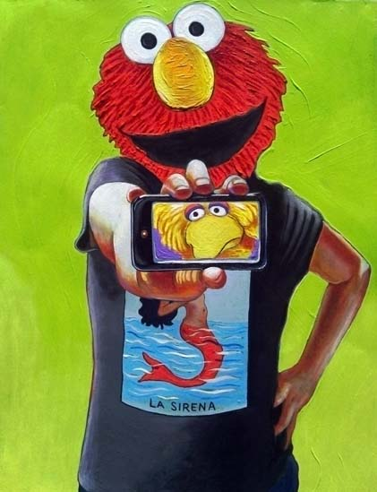 Painting featuring Elmo holding an image of a sad Big Bird while wearing a t-shirt with La Sirena from the Mexican Loteria
