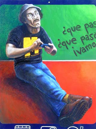 Ramon Valdes as Chespirito's character from El Chavo del Ocho, Don Ramon wearing an MTV tshirt and frowing while texting on his iphone.