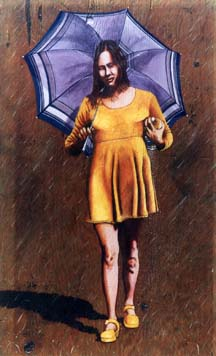 image inspired by the Morton Salt girl logo of a female dressed in yellow
