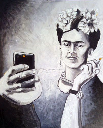 Mexican artist, painter posing for a selfie