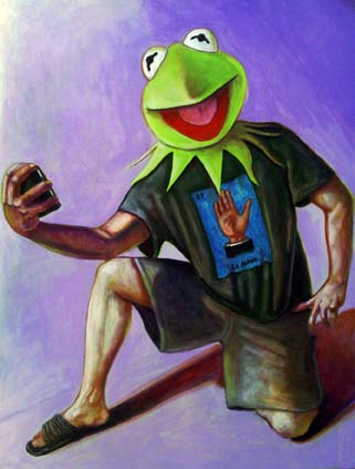 Kermit the Frog wearing a Mexican Loteria T-Shirt