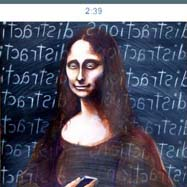 Mona Lisa receiving a text message on er smarth phone