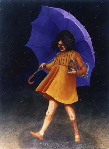 logo girl from Morton Salt walking in the beach holding her purple umbrella