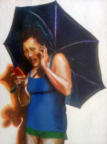 woman horrified while viewing her android phone while holding umbrella