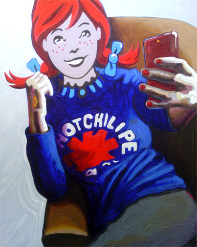 Wendy from Wendy's Burger wearing a Red Hot Chili Peppers t-shirt, sitting on a couch while posing for a selfie
