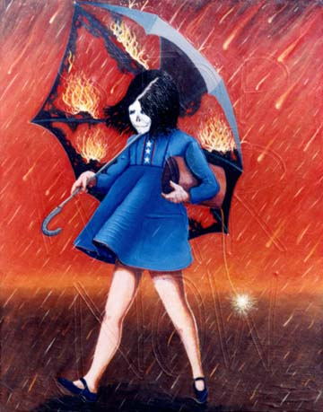 painting inspired by the Morton Salt girl logo depicting a girl, with a death mask, walking under a rain of fire, her umbrella on fire and ghostly writing of stop war now
